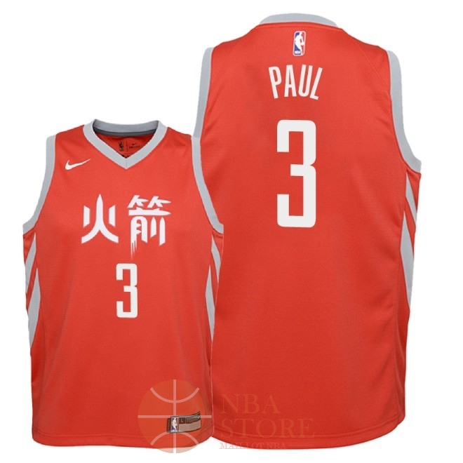 Classic Maillot NBA Enfant Houston Rockets NO.3 Chris Paul Nike Rouge Ville 2018-19