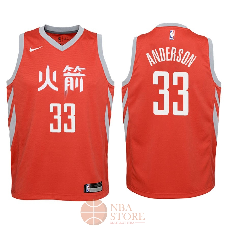 Classic Maillot NBA Enfant Houston Rockets NO.33 Ryan Anderson Nike Rouge Ville 2018