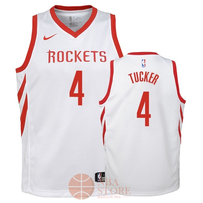 Classic Maillot NBA Enfant Houston Rockets NO.4 P.J. Tucker Blanc Association 2018