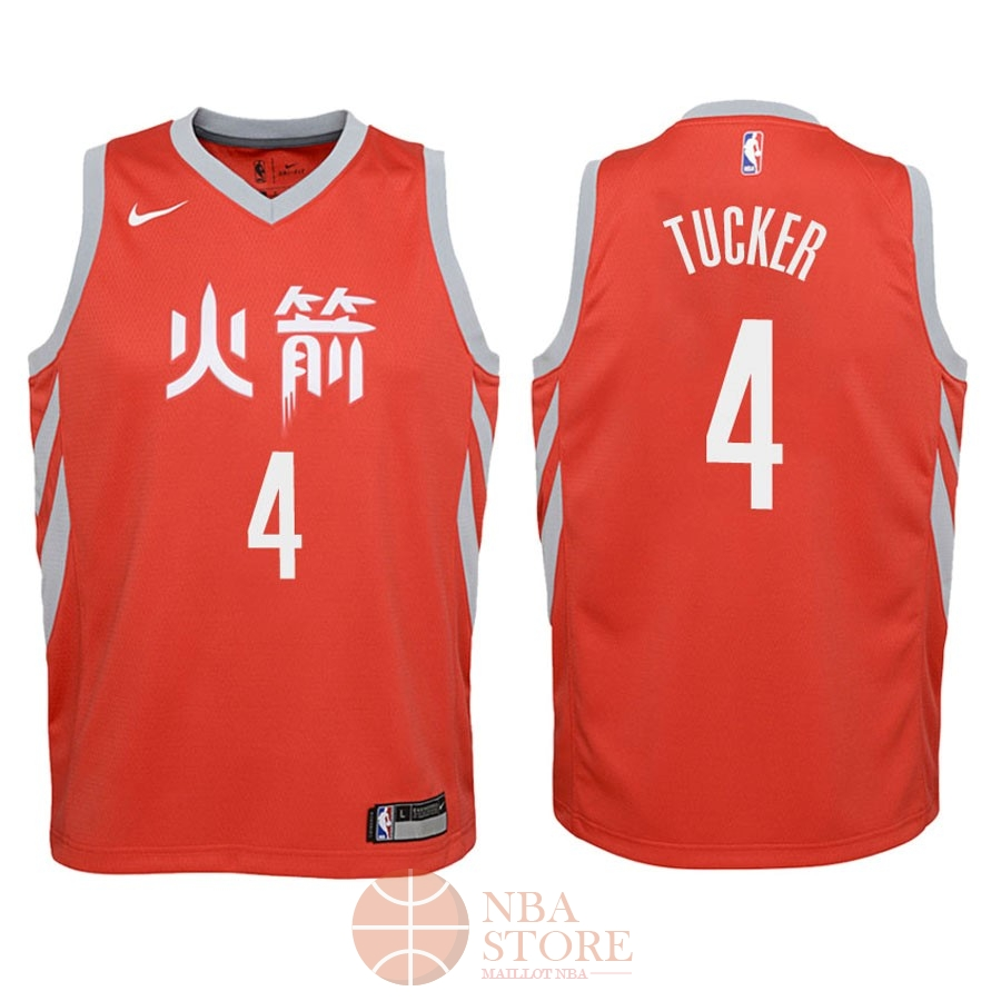Classic Maillot NBA Enfant Houston Rockets NO.4 P.J. Tucker Nike Rouge Ville 2018