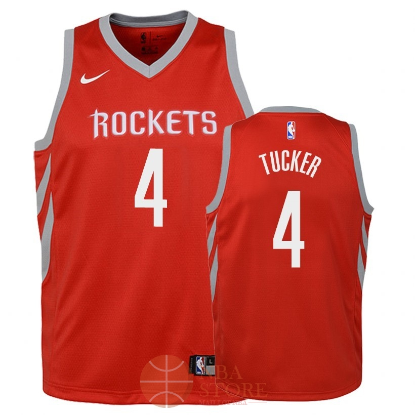 Classic Maillot NBA Enfant Houston Rockets NO.4 P.J. Tucker Rouge Icon 2018