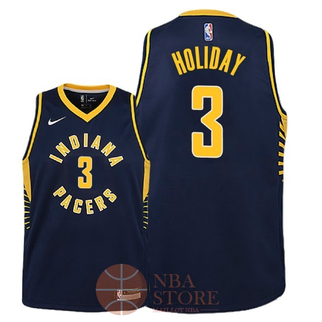 Classic Maillot NBA Enfant Indiana Pacers NO.3 Aaron Holiday Marine Icon 2018-19