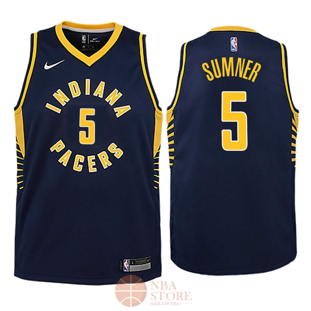 Classic Maillot NBA Enfant Indiana Pacers NO.5 Edmond Sumner Marine Icon 2018