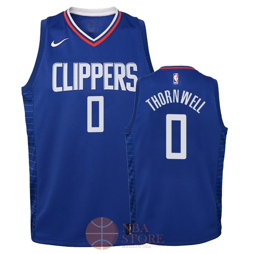 Classic Maillot NBA Enfant Los Angeles Clippers NO.0 Sindarius Thornwell Bleu Icon 2018