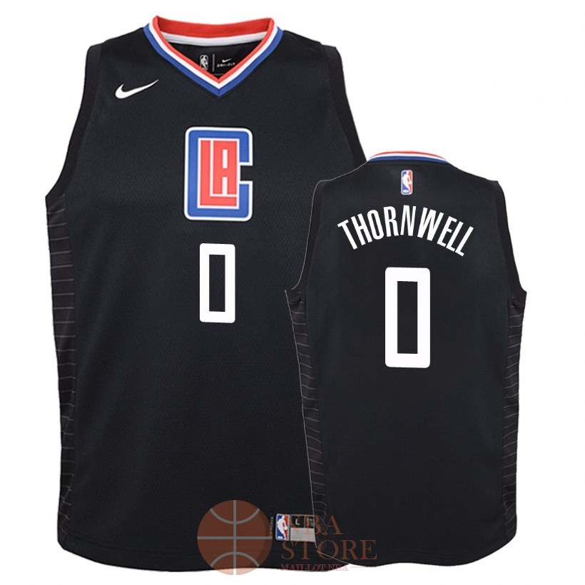 Classic Maillot NBA Enfant Los Angeles Clippers NO.0 Sindarius Thornwell Noir Statement 2018