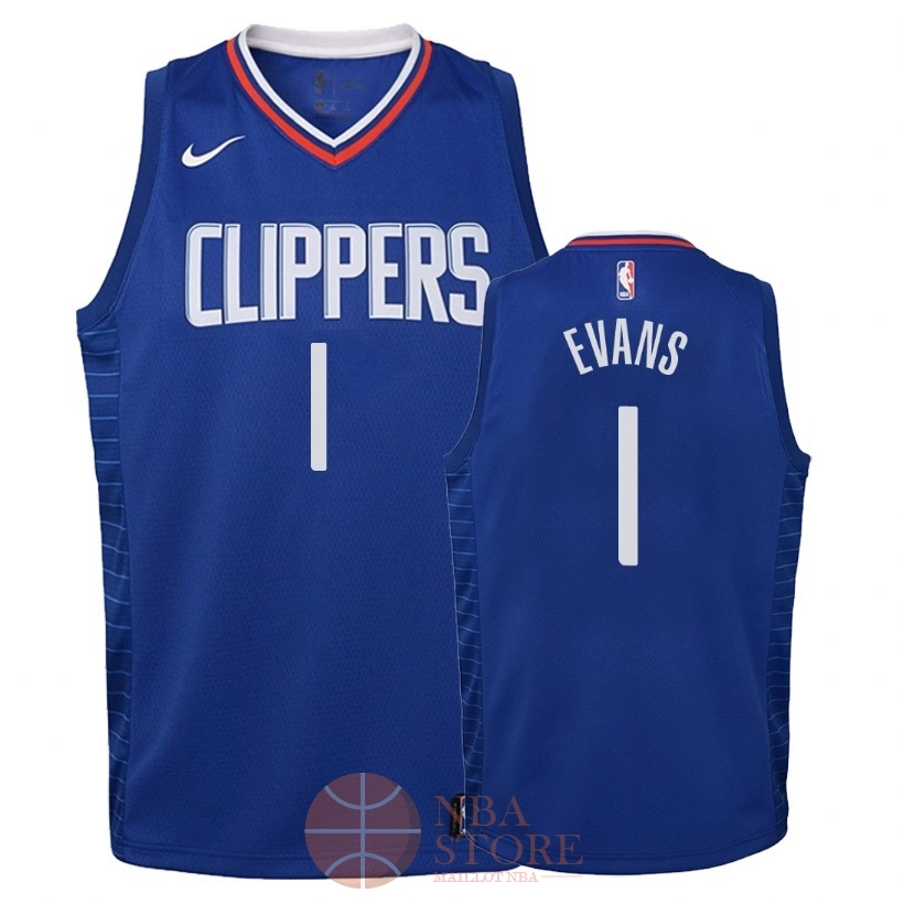Classic Maillot NBA Enfant Los Angeles Clippers NO.1 Jawun Evans Bleu Icon 2018