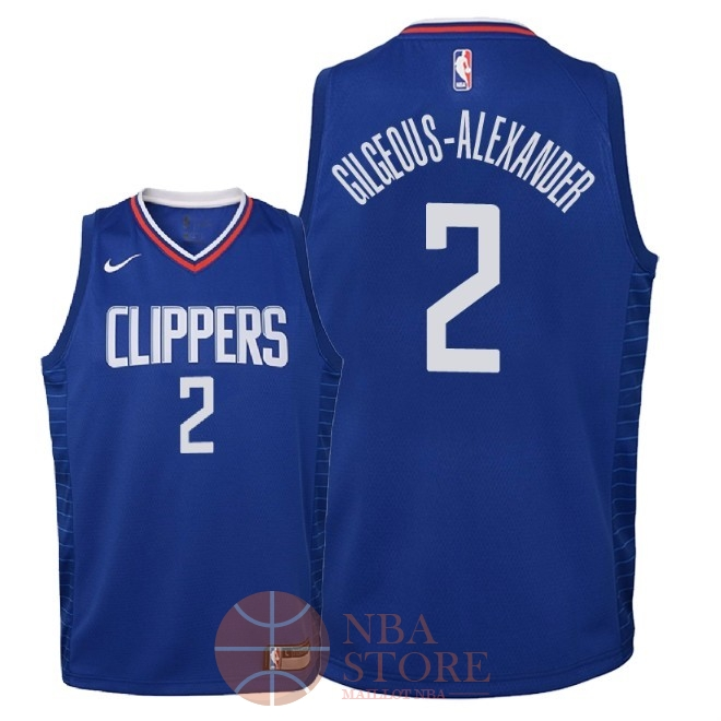 Classic Maillot NBA Enfant Los Angeles Clippers NO.2 Shai Gilgeous Alexander Bleu Icon 2018