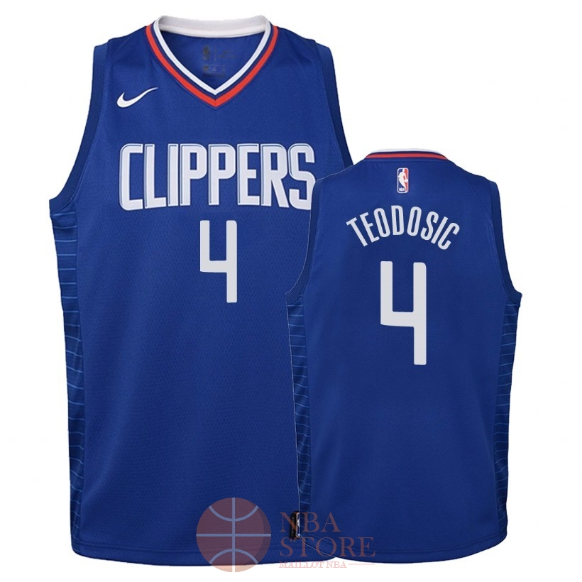 Classic Maillot NBA Enfant Los Angeles Clippers NO.4 Milos Teodisic Bleu Icon 2018