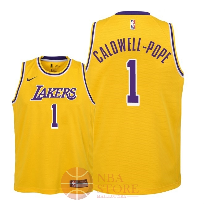Classic Maillot NBA Enfant Los Angeles Lakers NO.1 Kentavious Caldwell Pope Jaune Icon 2018-19
