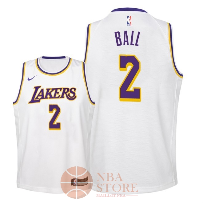 Classic Maillot NBA Enfant Los Angeles Lakers NO.2 Lonzo Ball Blanc Association 2018-19