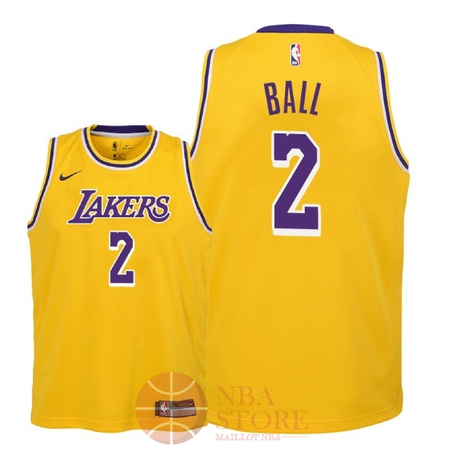 Classic Maillot NBA Enfant Los Angeles Lakers NO.2 Lonzo Ball Jaune Icon 2018-19