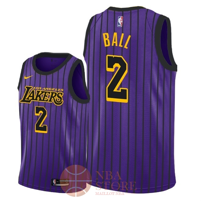 Classic Maillot NBA Enfant Los Angeles Lakers NO.2 Lonzo Ball Nike Pourpre Ville 2018-19