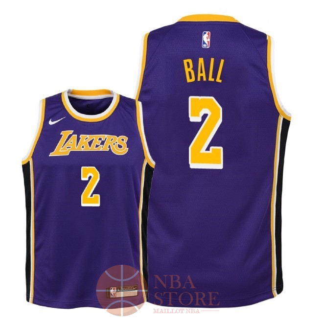 Classic Maillot NBA Enfant Los Angeles Lakers NO.2 Lonzo Ball Pourpre Statement 2018-19