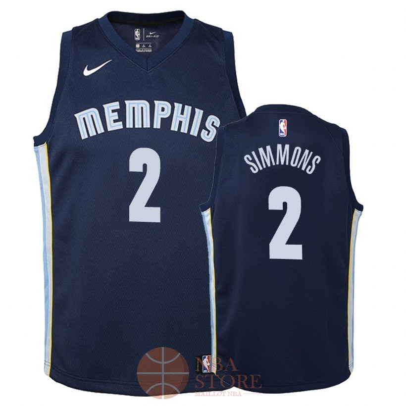 Classic Maillot NBA Enfant Memphis Grizzlies NO.2 Kobi Simmons Marine Icon 2018