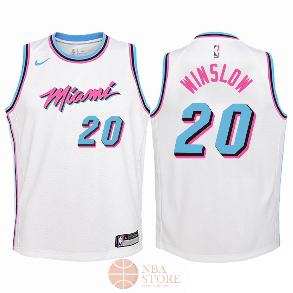 Classic Maillot NBA Enfant Miami Heat NO.20 Justise Winslow Nike Blanc Ville 2018