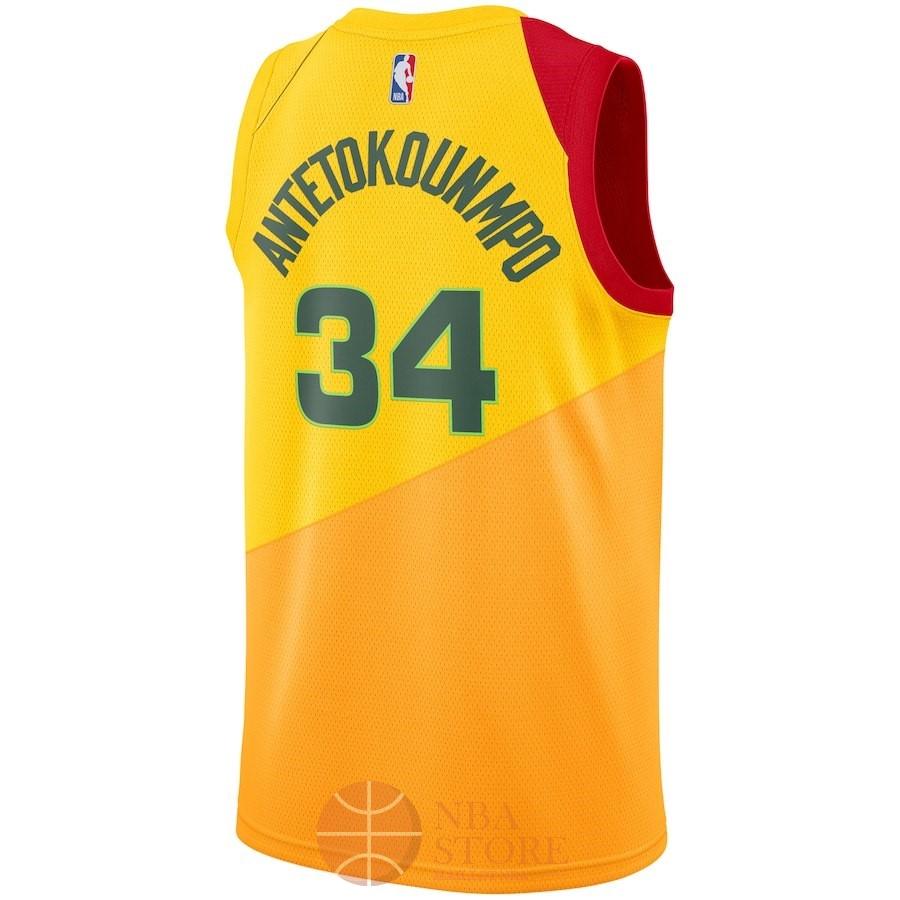 5f20d236efdcb ... Classic Maillot NBA Enfant Milwaukee Bucks NO.34 Giannis Antetokounmpo  Nike Jaune Ville 2018- ...