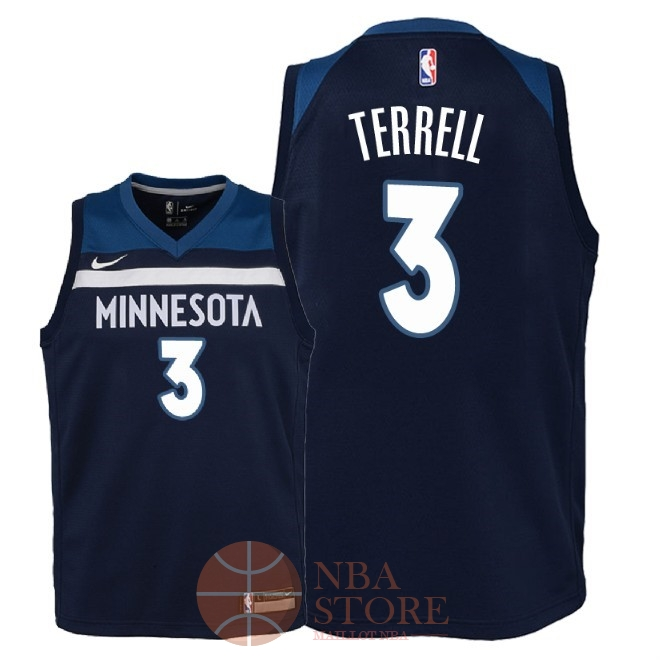 Classic Maillot NBA Enfant Minnesota Timberwolves NO.3 Jared Terrell Marine Icon 2018