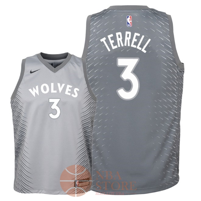 Classic Maillot NBA Enfant Minnesota Timberwolves NO.3 Jared Terrell Nike Gris Ville 2018