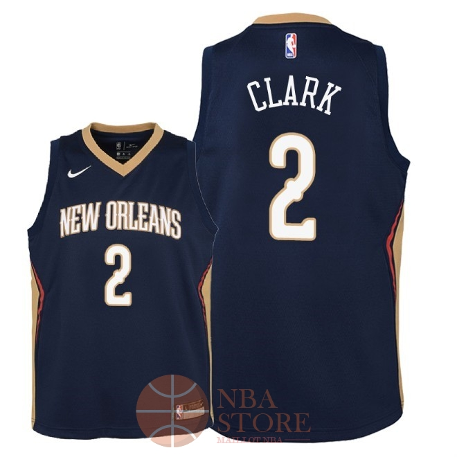 Classic Maillot NBA Enfant New Orleans Pelicans NO.2 Ian Clark Marine Icon 2018