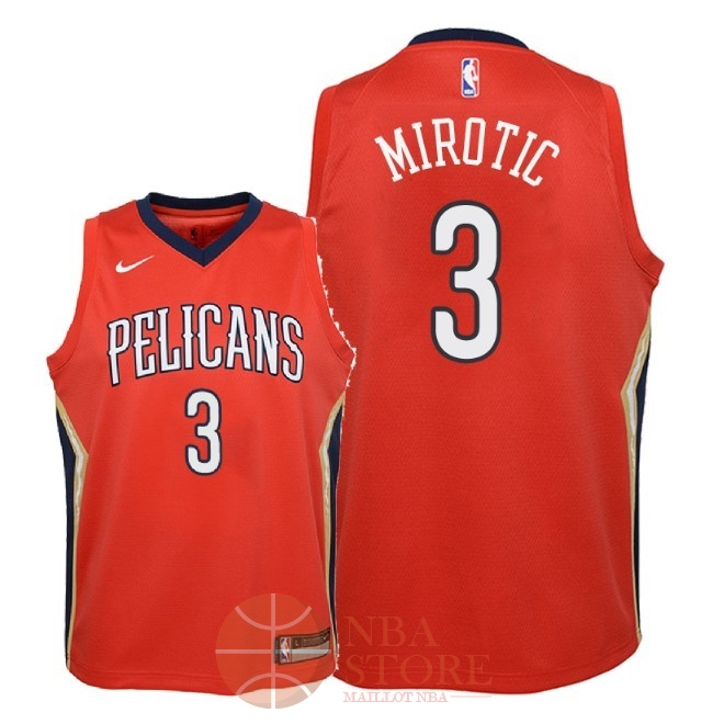 Classic Maillot NBA Enfant New Orleans Pelicans NO.3 Nikola Mirotic Rouge Statement 2018