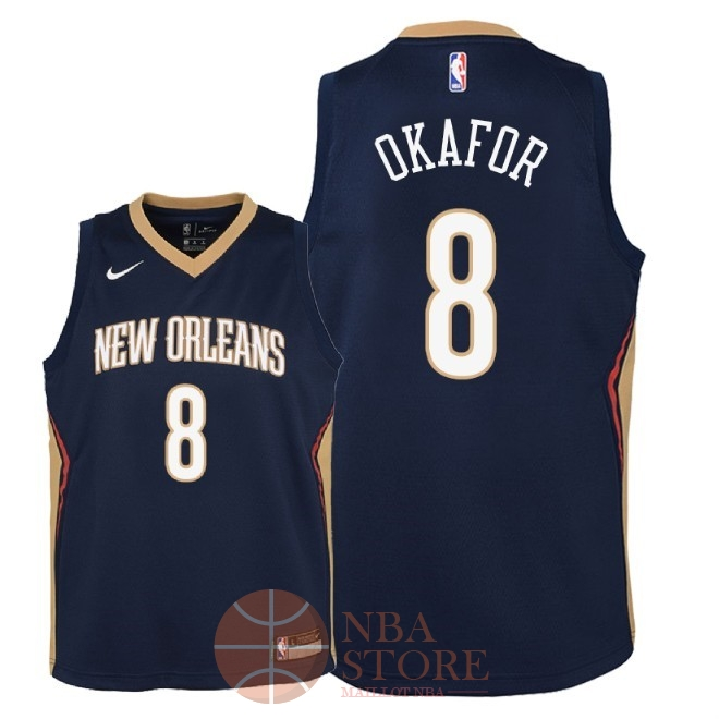 Classic Maillot NBA Enfant New Orleans Pelicans NO.8 Jahlil Okafor Marine Icon 2018