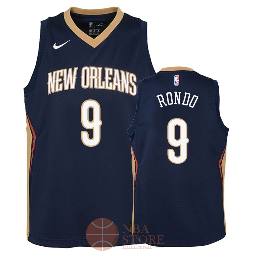 Classic Maillot NBA Enfant New Orleans Pelicans NO.9 Rajon Rondo Marine Icon 2018