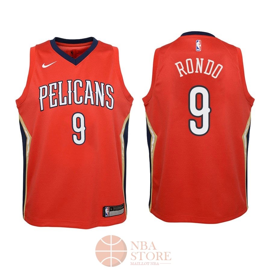 Classic Maillot NBA Enfant New Orleans Pelicans NO.9 Rajon Rondo Rouge Statement 2018