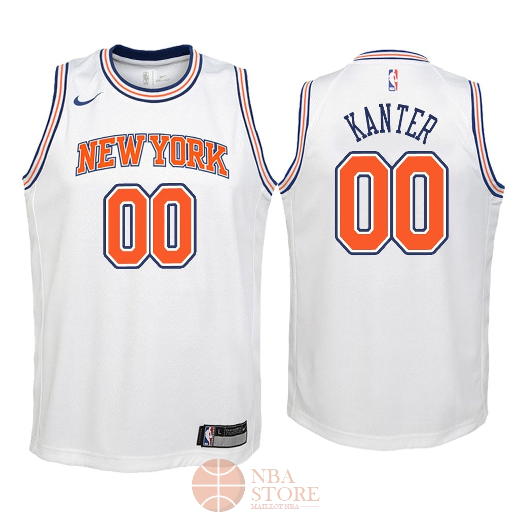 Classic Maillot NBA Enfant New York Knicks NO.0 Enes Kanter Blanc Statement 2018