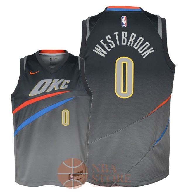 Classic Maillot NBA Enfant Oklahoma City Thunder NO.0 Russell Westbrook Nike Gris Ville 2018