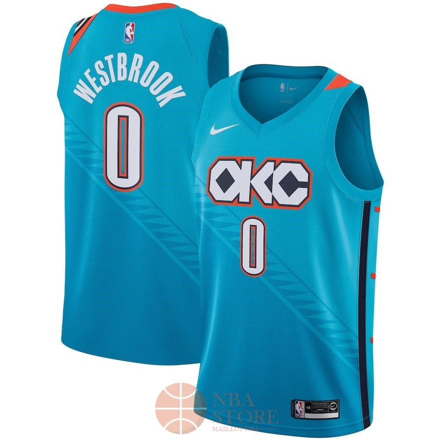 Classic Maillot NBA Enfant Oklahoma City Thunder NO.0 Russell Westbrook Nike Turquoise Ville 2018-19