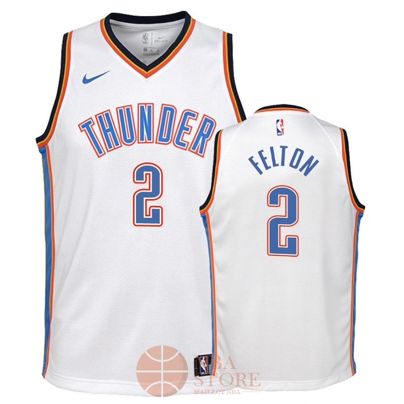 Classic Maillot NBA Enfant Oklahoma City Thunder NO.2 Raymond Felton Blanc Association 2018