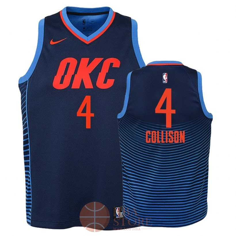 Classic Maillot NBA Enfant Oklahoma City Thunder NO.4 Nick Collison Marine Statement 2018