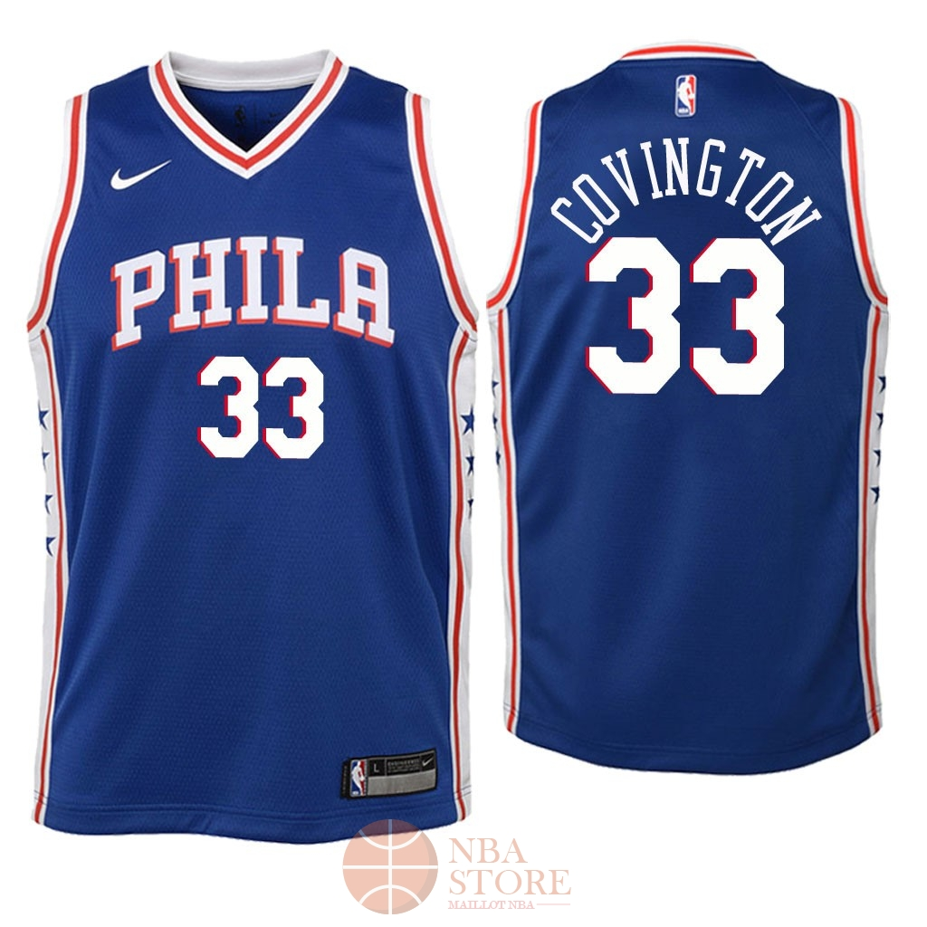 45188808689 Classic Maillot NBA Enfant Philadelphia Sixers NO.33 Robert Covington Bleu  Icon 2018