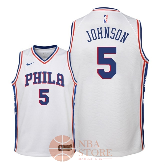 Classic Maillot NBA Enfant Philadelphia Sixers NO.5 Amir Johnson Blanc Association 2018