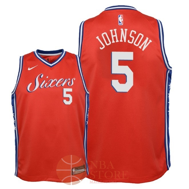 Classic Maillot NBA Enfant Philadelphia Sixers NO.5 Amir Johnson Rouge Statement 2018