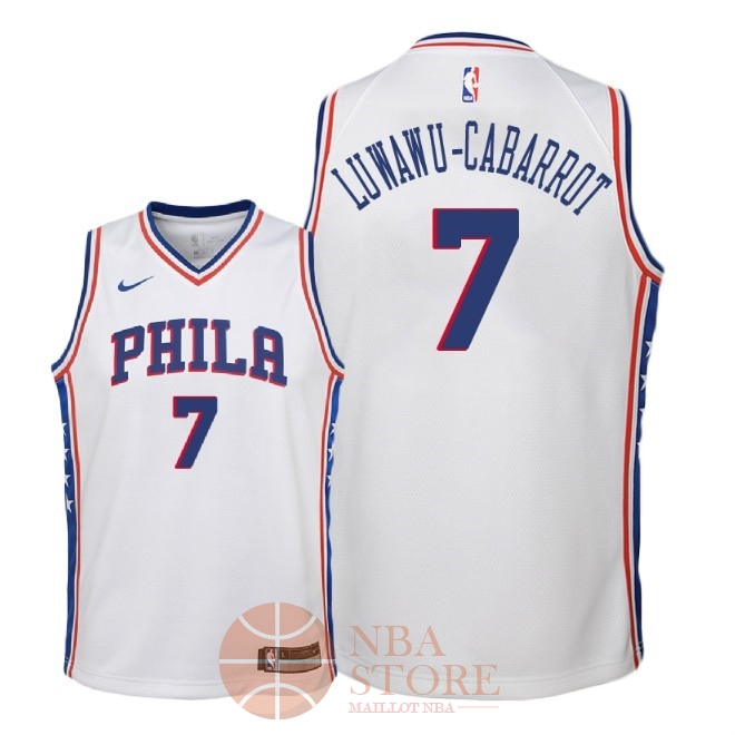 Classic Maillot NBA Enfant Philadelphia Sixers NO.7 Timothe Luwawu Cabarrot Blanc Association 2018