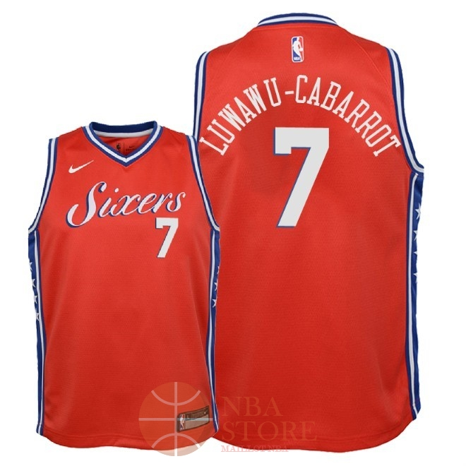 Classic Maillot NBA Enfant Philadelphia Sixers NO.7 Timothe Luwawu Cabarrot Rouge Statement 2018