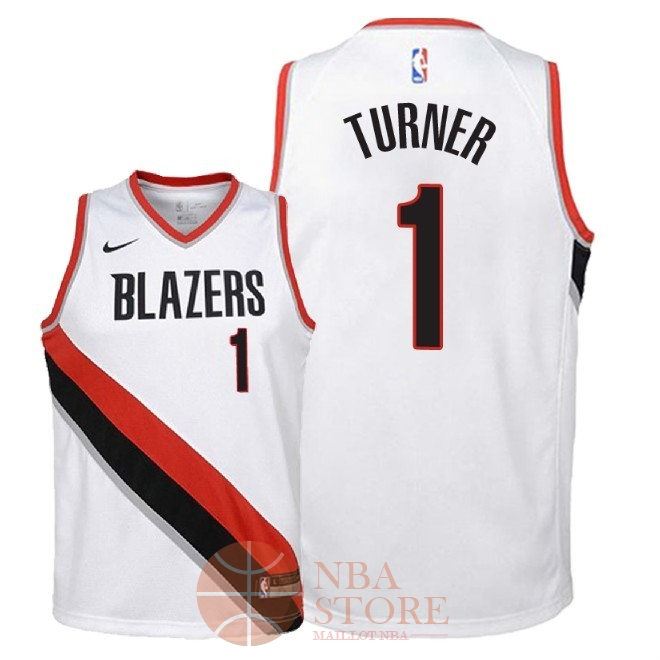 Classic Maillot NBA Enfant Portland Trail Blazers NO.1 Evan Turner Blanc Association 2018