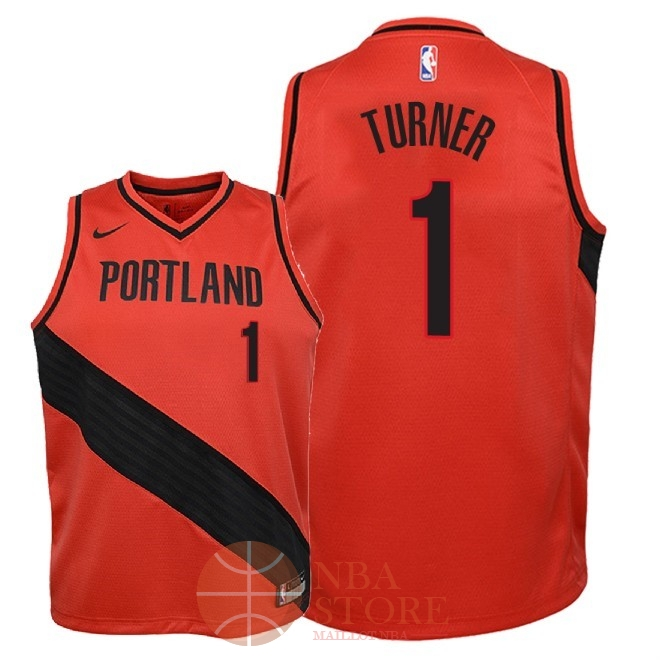 Classic Maillot NBA Enfant Portland Trail Blazers NO.1 Evan Turner Rouge Statement 2018