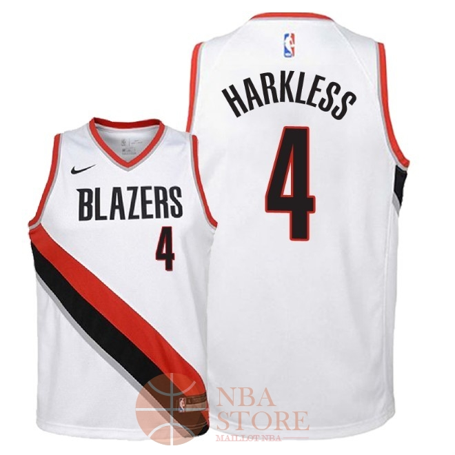 Classic Maillot NBA Enfant Portland Trail Blazers NO.4 Maurice Harkless Blanc Association 2018