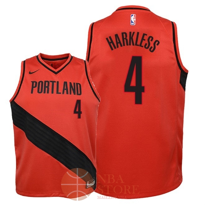 Classic Maillot NBA Enfant Portland Trail Blazers NO.4 Maurice Harkless Rouge Statement 2018