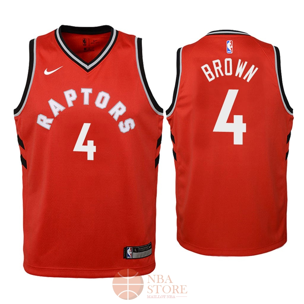 Classic Maillot NBA Enfant Toronto Raptors NO.4 Lorenzo Brown Rouge Icon 2018