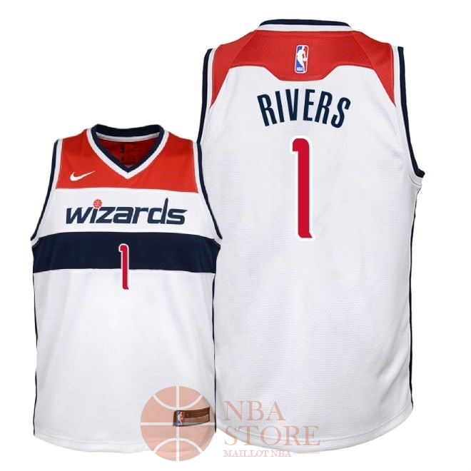 Classic Maillot NBA Enfant Washington Wizards NO.1 Austin Rivers Blanc Association 2018