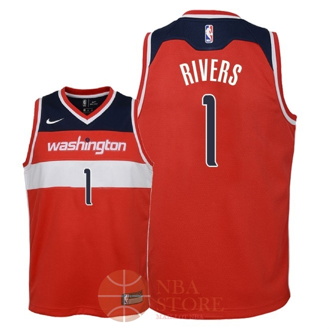 Classic Maillot NBA Enfant Washington Wizards NO.1 Austin Rivers Rouge Icon 2018
