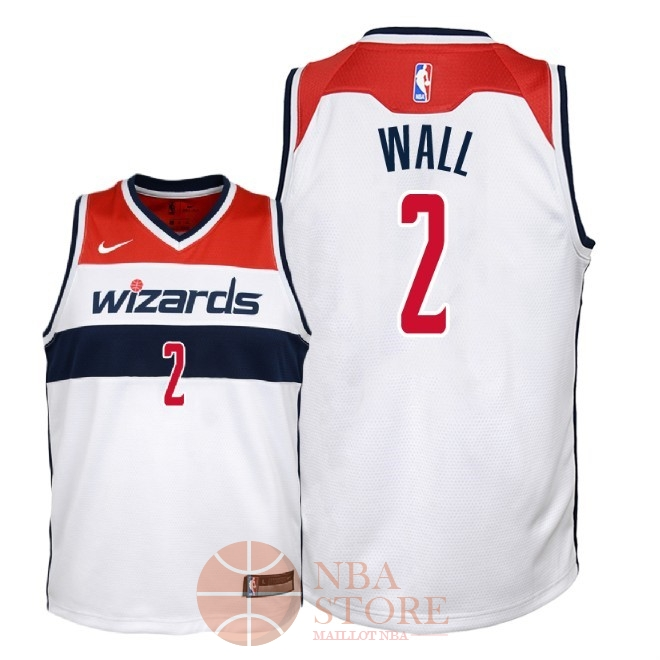 Classic Maillot NBA Enfant Washington Wizards NO.2 John Wall Blanc Association 2018