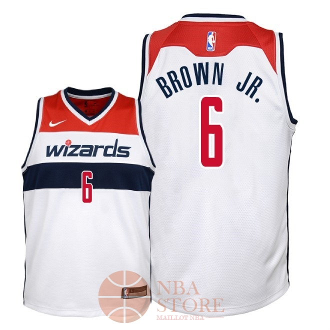 Classic Maillot NBA Enfant Washington Wizards NO.6 Troy Brown Jr Blanc Association 2018