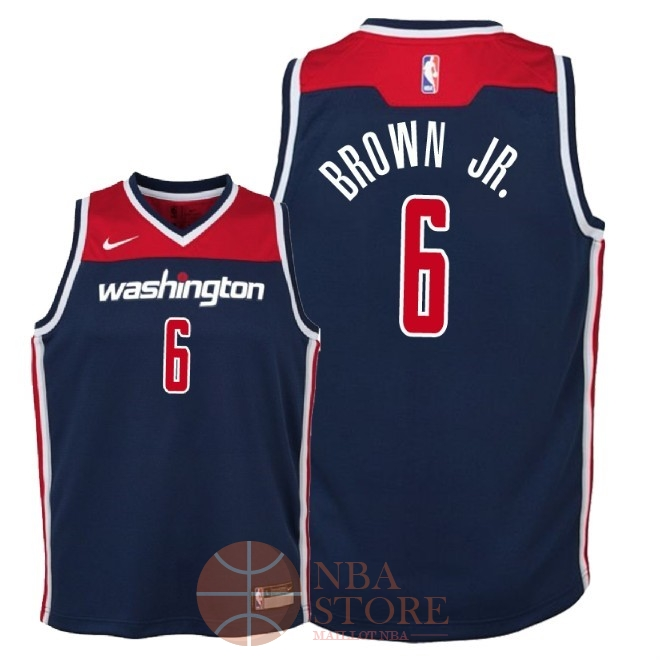 Classic Maillot NBA Enfant Washington Wizards NO.6 Troy Brown Jr Marine Statement 2018