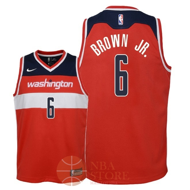 Classic Maillot NBA Enfant Washington Wizards NO.6 Troy Brown Jr Rouge Icon 2018
