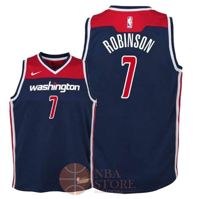 Classic Maillot NBA Enfant Washington Wizards NO.7 Devin Robinson Marine Statement 2018