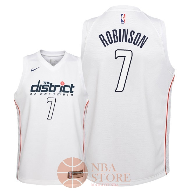 Classic Maillot NBA Enfant Washington Wizards NO.7 Devin Robinson Nike Blanc Ville 2018